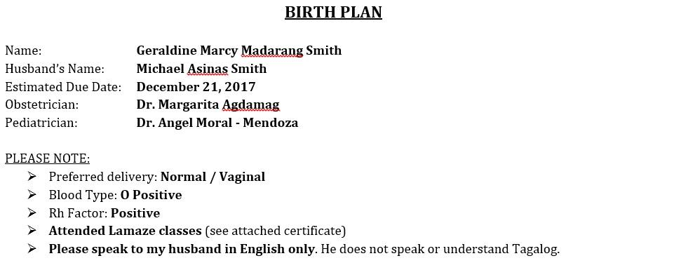 My Birth Plan A K A My Birth Wishes Scenes From Nadine